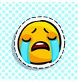 crying sad emoticon vector image