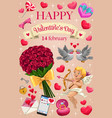 cupid love hearts and flowers valentines day vector image vector image