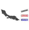curacao island map in halftone dot style with vector image vector image