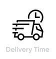 delivery time truck icon editable line vector image
