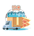 fast delivery service with truck travel vector image vector image