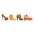 female shoes on high heel firm platform and flat vector image