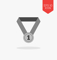 First place medal icon Flat design gray color vector image