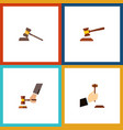 flat icon lawyer set of court hammer crime and vector image vector image