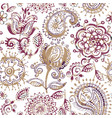 floral seamless pattern in paisley style abstract vector image