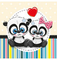 greeting card with two cartoon pandas vector image vector image