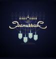 happy hanukkah handwritten word hanukkah menorah vector image vector image