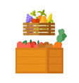 harvested fruits and vegetables veggies in boxes vector image vector image