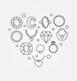 heart shape made jewelry icons vector image vector image