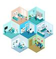 Hospital Hexagonal Tessellated Pattern Isometric vector image vector image