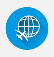 icon airplane flying around globe on blue vector image vector image