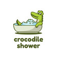 logo crocodile simple mascot style vector image