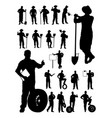 mechanic and farmer detail silhouette vector image vector image