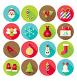 New Year Merry Christmas Circle Icons Set with vector image vector image
