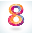 Number eight in modern polygonal crystal style vector image