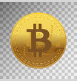 one golden bitcoin on transparent background vector image vector image