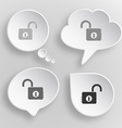 Opened lock White flat buttons on gray background vector image vector image