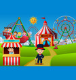 people having fun in amusement park vector image vector image