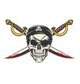 pirate skull with crossed sabres vector image vector image
