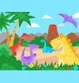 prehistoric landscape cartoon dinosaur nature vector image vector image