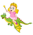 princess riding dragon vector image vector image