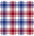 Red blue white check plaid texture seamless vector image vector image