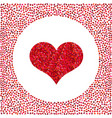 red heart made of pixels and little hearts around vector image