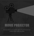 retro movie projector on a black background vector image vector image