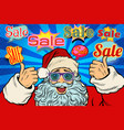 sale background with santa claus in funny glasses vector image vector image
