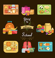 school lunch set food boxes and kids bags vector image