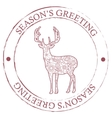 Season s greeting stamp with deer vector image vector image