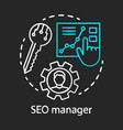 seo manager chalk concept icon digital marketing vector image vector image