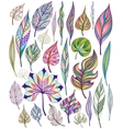 Set of colorful abstract leaves vector image
