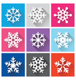 Snowflakes flat design with long shadows - Winter vector image