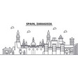 spain zaragoza architecture line skyline vector image vector image