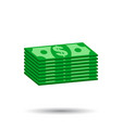 Stacks of dollar cash in flat design on white vector image