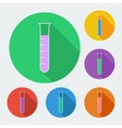 Test-tube icon with long shadow - six colors set vector image