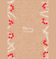 white pine leaves and red berries on brown paper vector image