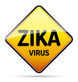 zika virus warning sign with reflect and shadow vector image vector image