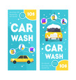 car wash service vertical banner card set vector image