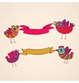 birds ribbons banner design template vector image