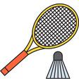 Two badminton racket and shuttlecock vector image