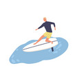 active male enjoying surfing flat vector image