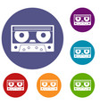 audio cassette tape icons set vector image vector image