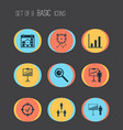 authority icons set with project goals vector image