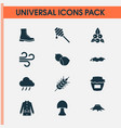 autumn icons set with hazelnut coat rain and vector image vector image