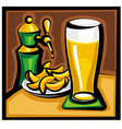 beer and chips vector image vector image