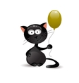 Black cat with balloon vector image vector image