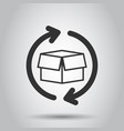 box package return icon in flat style delivery vector image vector image