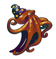 brown octopus in hat wizard inhabitants of vector image